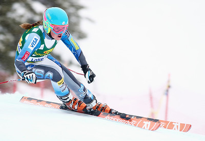 Abby Ghent puts her skis down the course in her debut World Cup super G in Lake Louise. Photo © Roger Witney/Alpine Canada Image may be used for editorial use only.
