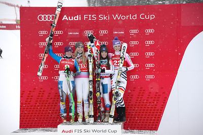 Lindsey Vonn and Stacey Cook finished 1-2 in the first of two Audi FIS Alpine World Cup downhills in Lake Louise (Alpine Canada) Image may be used for editorial use only.