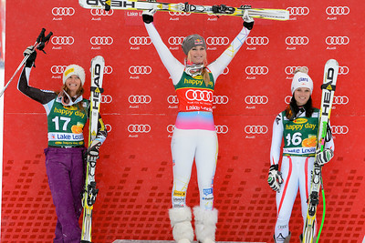 Lindsey Vonn stands atop the podium for the third straight day winning the Audi FIS World Cup super G in Lake Louise.Photo © Roger Witney/Alpine Canada Image may be used for editorial use only.