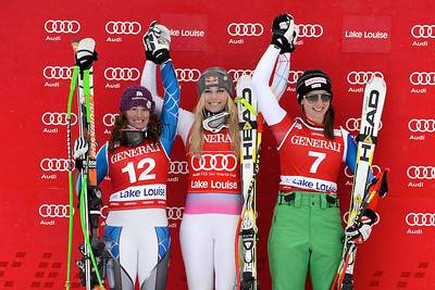 Woman's Podium Audi FIS Alpine World Cup - Lake Louise, Canada - Nov. 30-Dec. 2 Photo © Roger Witney Image may be used for editorial use only.