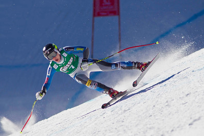 ST ANTON, AUSTRIA - JANUARY 12, Laurenne Ross of the USA races down the Kandahar course whilst competing in the Audi FIS Alpine Ski World Cup downhill race in St Anton, Austria, on January 12 2013 (Photo by Mitchell Gunn/ESPA) Image may be used for editorial purposes only.