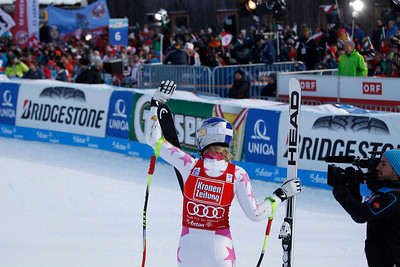 ST ANTON, AUSTRIA - JANUARY 13, Lindsey Vonn of the USA reacts in the finish area after competing in the Audi FIS Alpine Ski World Cup Super Giant Slalom (SuperG) race race in St Anton, Austria, on January 13 2013 (Photo by Mitchell Gunn/ESPA) Image may be used for editorial purposes only.