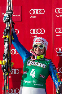 ST ANTON, AUSTRIA - JANUARY 12,  Alice Mckennis of the USA celebrates her victory on the Kandahar course for the Audi FIS Alpine Ski World Cup downhill race in St Anton, Austria, on January 12 2013 (Photo by Mitchell Gunn/ESPA) Image may be used for editorial purposes only.