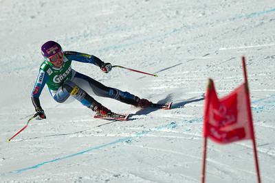 ST ANTON, AUSTRIA - JANUARY 12, Alice Mckennis of the USA races down the Kandahar course whilst competing in the Audi FIS Alpine Ski World Cup downhill race in St Anton, Austria, on January 12 2013 (Photo by Mitchell Gunn/ESPA) Image may be used for editorial purposes only.