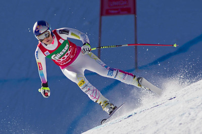 ST ANTON, AUSTRIA - JANUARY 12, Lindsey Vonn of the USA races down the Kandahar course whilst competing in the Audi FIS Alpine Ski World Cup downhill race in St Anton, Austria, on January 12 2013 (Photo by Mitchell Gunn/ESPA) Image may be used for editorial purposes only.