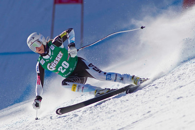 ST ANTON, AUSTRIA - JANUARY 12, Julia Mancuso of the USA races down the Kandahar course whilst competing in the Audi FIS Alpine Ski World Cup downhill race in St Anton, Austria, on January 12 2013 (Photo by Mitchell Gunn/ESPA) Image may be used for editorial purposes only.