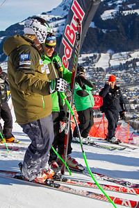 KITZBUHEL, AUSTRIA - JANUARY 24: Andrew Weibrecht of the USA gets advice from head coach Sasha Rearick during the pre race course inspection prior to the Audi FIS Alpine Ski World Cup Downhill third official training session on January 24, 2013 in Kitzbuhel, Austria, (Photo by Mitchell Gunn/ESPA) Image may be used for editorial use only.