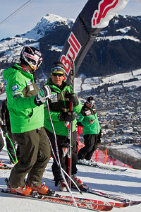 KITZBUHEL, AUSTRIA - JANUARY 24: Thomas Biesemeyer of USA gets instructions from head coach Sasha Rearick during the pre race course inspection prior to the Audi FIS Alpine Ski World Cup Downhill third official training session on January 24, 2013 in Kitzbuhel, Austria, (Photo by Mitchell Gunn/ESPA) Image may be used for editorial use only.