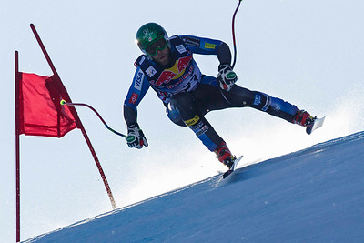 KITZBUHEL, AUSTRIA - JANUARY 26: Travis Ganong of USA races down the Hahnenkamm course during the Audi FIS Alpine Ski World Cup Downhill on January 26, 2013 in Kitzbuhel, Austria, (Photo by Mitchell Gunn/ESPA) Image may be used for editorial use only.