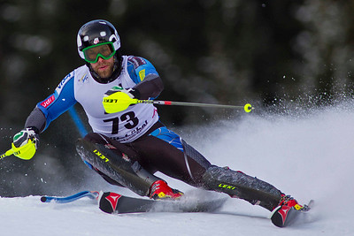 KITZBUHEL, AUSTRIA - JANUARY 27: Travis Ganong of The USA  races down the course during the Audi FIS Alpine Ski World Cup slalom on January 27, 2013 in Kitzbuhel, Austria, (Photo by Mitchell Gunn/ESPA) Image may be used for editorial use only.