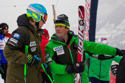 KITZBUHEL, AUSTRIA - JANUARY 25: Ted Ligety of the USA and Head Coach Sasha Rearick during the pre race course inspection prior to the Audi FIS Alpine Ski World Cup SuperG on January 25, 2013 in Kitzbuhel, Austria, (Photo by Mitchell Gunn/ESPA) Image may be used for editorial use only.