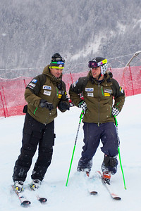 KITZBUHEL, AUSTRIA - JANUARY 25: US Ski team head speed coach Andreas Evers, and Andrew Weibrecht during the pre race course inspection prior to the Audi FIS Alpine Ski World Cup SuperG on January 25, 2013 in Kitzbuhel, Austria, (Photo by Mitchell Gunn/ESPA) Image may be used for editorial use only.