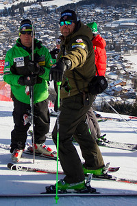 KITZBUHEL, AUSTRIA - JANUARY 24: US ski team head coach Sasha Rearick, and Team Director Of Alpine operations Patrick Riml during the pre race course inspection prior to the Audi FIS Alpine Ski World Cup Downhill third official training session on January 24, 2013 in Kitzbuhel, Austria, (Photo by Mitchell Gunn/ESPA) Image may be used for editorial use only.