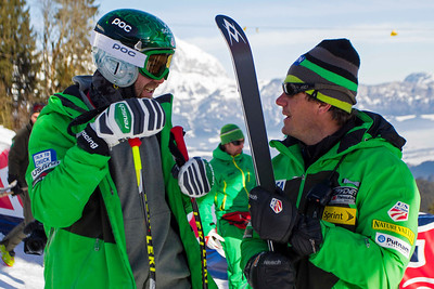 KITZBUHEL, AUSTRIA - JANUARY 24: Travis Ganong of USA and head coach Sasha Rearick during the pre race course inspection prior to the Audi FIS Alpine Ski World Cup Downhill third official training session on January 24, 2013 in Kitzbuhel, Austria, (Photo by Mitchell Gunn/ESPA) Image may be used for editorial use only.