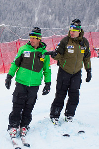 KITZBUHEL, AUSTRIA - JANUARY 25: US Ski team head speed coach Andreas Evers, and Head Coach Sasha Rearick during the pre race course inspection prior to the Audi FIS Alpine Ski World Cup SuperG on January 25, 2013 in Kitzbuhel, Austria, (Photo by Mitchell Gunn/ESPA) Image may be used for editorial use only.