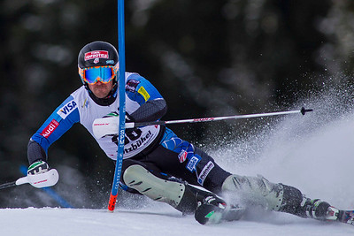 KITZBUHEL, AUSTRIA - JANUARY 27: David Chodounsky of The USA  races down the course during the Audi FIS Alpine Ski World Cup slalom on January 27, 2013 in Kitzbuhel, Austria, (Photo by Mitchell Gunn/ESPA) Image may be used for editorial use only.