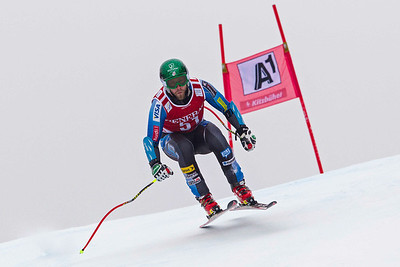 KITZBUHEL, AUSTRIA - JANUARY 25: Travis Ganong of the USA races down the course whilst competing in the Audi FIS Alpine Ski World Cup SuperG on January 25, 2013 in Kitzbuhel, Austria, (Photo by Mitchell Gunn/ESPA) Image may be used for editorial use only.