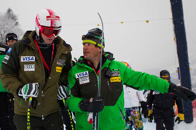 KITZBUHEL, AUSTRIA - JANUARY 25: Tim Jitloff of the USA and Head Coach Sasha Rearick during the pre race course inspection prior to the Audi FIS Alpine Ski World Cup SuperG on January 25, 2013 in Kitzbuhel, Austria, (Photo by Mitchell Gunn/ESPA) Image may be used for editorial use only.