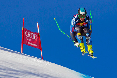KITZBUHEL, AUSTRIA - JANUARY 24: Steven Nyman of USA races down the Hahnenkamm Course during the Audi FIS Alpine Ski World Cup Downhill third official training session on January 24, 2013 in Kitzbuhel, Austria, (Photo by Mitchell Gunn/ESPA) Image may be used for editorial use only.