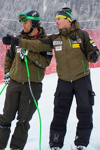 KITZBUHEL, AUSTRIA - JANUARY 25: US Ski team head speed coach Andreas Evers, and Steven Nyman during the pre race course inspection prior to the Audi FIS Alpine Ski World Cup SuperG on January 25, 2013 in Kitzbuhel, Austria, (Photo by Mitchell Gunn/ESPA) Image may be used for editorial use only.