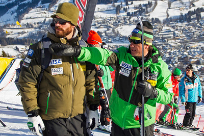 KITZBUHEL, AUSTRIA - JANUARY 24: Coach TJ Lanning and Head Coach Sasha Rearick during the pre race course inspection prior to the Audi FIS Alpine Ski World Cup Downhill third official training session on January 24, 2013 in Kitzbuhel, Austria, (Photo by Mitchell Gunn/ESPA) Image may be used for editorial use only.