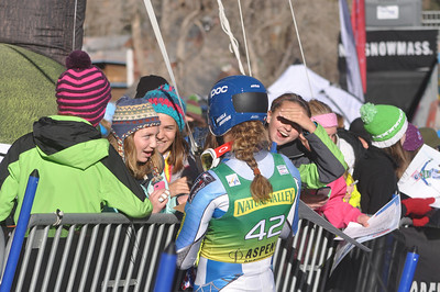 Mikaela Shiffrin greets fans after her first run 2012 Nature Valley Aspen Winternational Photo: Riley Steinmetz/USSA