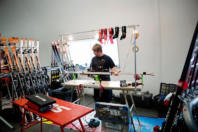 U.S. Ski Team wax tech, , doing work in the wax room. 2013 Spring Camp at Mammoth, CA Photo: Sarah Brunson/U.S. Ski Team