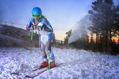 Abby Ghent (Edwards, CO) gets First Tracks at Copper Mountain as snowmaking began Oct. 1, 2013 at the U.S. Ski Team Speed Center  The facility is expected to open Nov. 1 for training. (Copper Mountain)