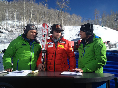 2013 Audi Birds of Prey FIS World Cup in Beaver Creek, CO. Travis Ganong goes over race analysis with Steve Porino and Doug Lewis of Universal Sports following the only Audi Birds of Prey downhill training run.  Photo: Doug Haney/U.S. Ski Team
