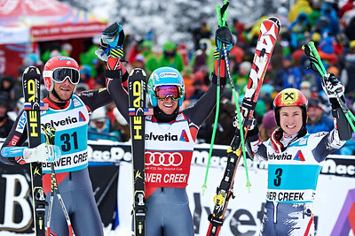 2013 Audi Birds of Prey FIS World Cup in Beaver Creek, CO. Men's Giant Slalom Bode Miller, Ted Ligety and Marcel Hirscher Photo © Jesse Starr/Vail Resorts Photo may be used for editorial purposes only.