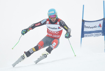2013 Audi Birds of Prey FIS World Cup in Beaver Creek, CO. Men's Giant Slalom Bode Miller, Ted Ligety and Marcel Hirscher Photo © Jack Affleck/Vail Resorts Photo may be used for editorial purposes only.