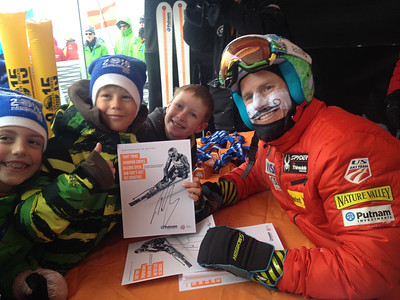 2013 Audi Birds of Prey FIS World Cup in Beaver Creek, CO. Ted Ligety signs autographs for fans at the Putnam Investments booth after the Audi Birds of Prey downhill in Beaver Creek  Photo: Doug Haney/U.S. Ski Team