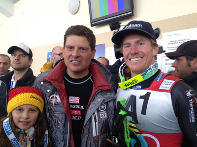 Three-time Soelden champion Ted Ligety with Tour de France champion Jan Ulrich Photo: Doug Haney/U.S. Ski Team