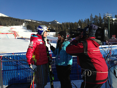 Lindsey Vonn giving an interview after the Audi FIS World Cup downhill on Dec. 6, 2013 in Lake Louise, AB. (Tom Kelly/U.S. Ski Team)
