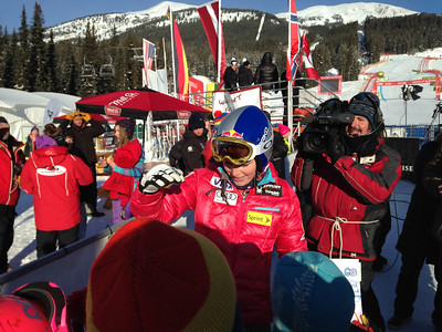 Lindsey Vonn signing autographs after the Audi FIS World Cup downhill on Dec. 6, 2013 in Lake Louise, AB. (Tom Kelly/U.S. Ski Team)
