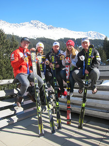 Ted Ligety (Park City, UT - giant slalom gold), Julia Mancuso (Squaw Valley, CA - super combined bronze), Bode Miller (super G bronze), Mikaela Shiffrin (slalom gold) and Andrew Weibrecht (super G silver) with their 2014 Olympic medals during a photo shoot at the Audi FIS Alpine World Cup Finals in Lenzerheide, Switzerland (credit: Doug Haney/U.S. Ski Team)