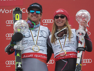 Ted Ligety (Park City, UT) won the giant slalom and Mikaela Shiffrin (Eagle-Vail, CO) captured a fifth slalom victory of the season at the Audi FIS Alpine World Cup Finals to secure collect the season-long discipline titles. It was Ligety's career fifth giant slalom crystal globe and Shiffrin's second consecutive slalom title. (credit: Doug Haney/U.S. Ski Team)