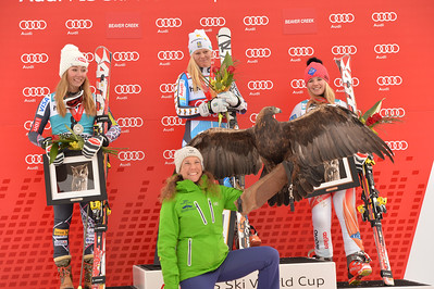 Mikaela Shiffrin,  Jessica Lindell-Vikarby and Tina Weirather 2013 Audi Raptor FIS World Cup at Beaver Creek, CO. Women's GS Photo: Grafton Smith