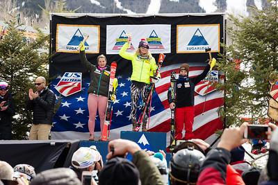 Paula Moltzan, Mikaela Shiffrin and Megan McJames Women's Slalom 2015 Nature Valley U.S. Alpine Championships at Sugarloaf Mountain, Maine Photo: USSA