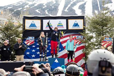 Rachael Desrochers, Megan McJames and Alexandra Skovran Women's Slalom 2015 Nature Valley U.S. Alpine Championships at Sugarloaf Mountain, Maine Photo: USSA