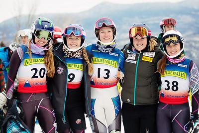 Abigail Murer, Megan McGrew, Audrey O'Brien, Paula Moltzan and Juliette Parke Women's Slalom 2015 Nature Valley U.S. Alpine Championships at Sugarloaf Mountain, Maine Photo: USSA