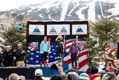 Alexandra Skovran, Rachel Desrochers and Katy Harris Women's Slalom 2015 Nature Valley U.S. Alpine Championships at Sugarloaf Mountain, Maine Photo: USSA