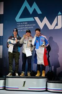 Erik Arvidsson celebrates his FIS Alpine Junior World Ski Championship downhill gold in Sochi, Russia. (USSA-Chip Knight)