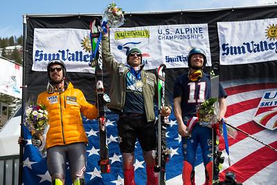 Men's podium: Michael Ankeny (3rd), David Chodounsky (1st) and Robby Kelley (2nd) Slalom 2016 Nature Valley U.S. Alpine Championships at Sun Valley, Idaho Photo: U.S. Ski Team