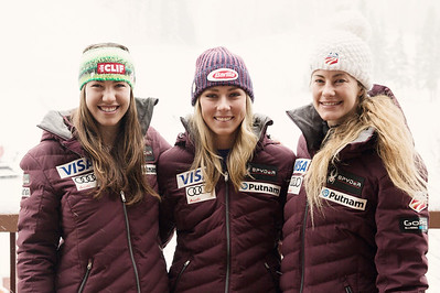 2016-17 Women's U.S. Alpine Tech Team  (l-r)  Lila Lapanja, Mikaela Shiffrin, Resi Stiegler  Photo: U.S. Ski Team
