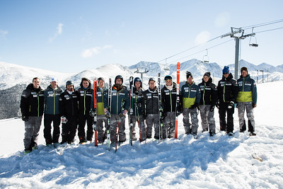 2016-17 Men's U.S. Alpine Europa Cup Team  (l-r) Michael Bingaman, Chad Wolk, Dane Spencer, Giorgio Gay, Kipling Weisel, Nick Krause, Drew Duffy, Erik Arvidsson, River Radamus, Bernd Brunner, Chris Toone, Bruno Grandi, Neil Lande. Missing: Sam Morse  Photo: U.S. Ski Team