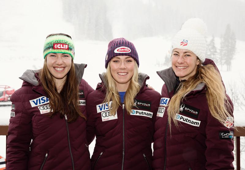 2016-17 Women's U.S. Alpine Tech Team<br /> <br /> (l-r)  Lila Lapanja, Mikaela Shiffrin, Resi Stiegler<br /> <br /> Photo: U.S. Ski Team