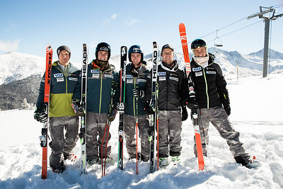 2016-17 Men's U.S. Alpine Europa Cup Team  (l-r) Kipling Weisel, Nick Krause, Drew Duffy, Erik Arvidsson, River Radamus   Photo: U.S. Ski Team