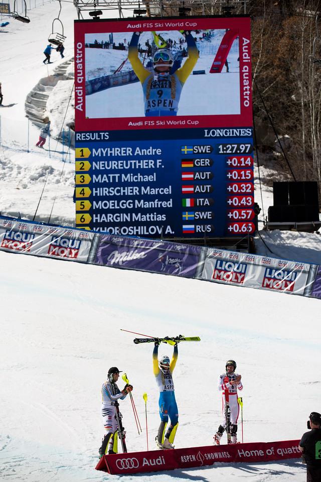 Felix Neureuther, Andrew Myhrer and Michael Macho Slalom 2017 Audi FIS Ski World Cup finals in Aspen, CO. Photo: U.S. Ski Team