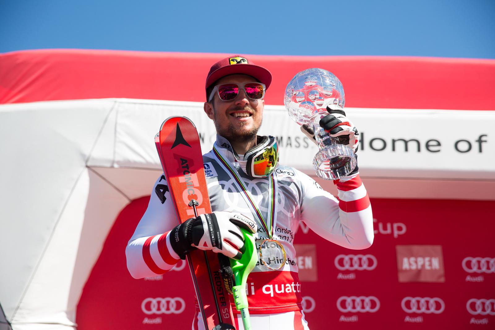 Marcel Hirscher Slalom Overall Globe 2017 Audi FIS Ski World Cup finals in Aspen, CO. Photo: U.S. Ski Team